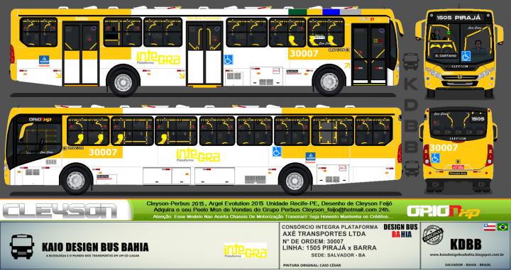 KDBB DESIGN BUS BAHIA. CONSÓRCIO INTEGRA PLATAFORMA - AXÉ TRANSPORTES LTDA. CLEYSON ORION  XP 2015 MERCEDES-BENZ OF 1721 EURO 5